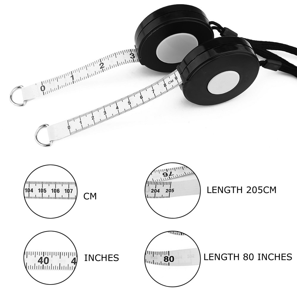 Black Retractable Tape Measure with Black Rope-5