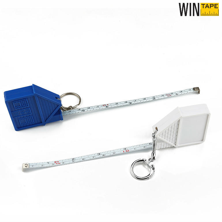 House Shape 1M Steel Measuring Ruler With Keychain